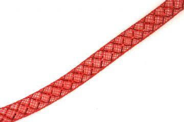 Red colour nylon mesh tubing with red colour foil 8mm - 022
